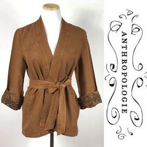 New Hei Hei Anthropologie Linen Kimono Jacket